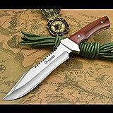 NedFoss Fahrtenmesser Rambo Messer  Survival Messer Camping Jagdmesser Outdoormesser Gürtelmesser Überlebensmesser - aus einem Stück 5Cr13Mov Stahl, Vergrößerte Version